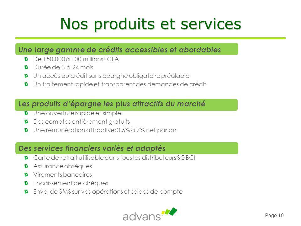 Nos produits et services