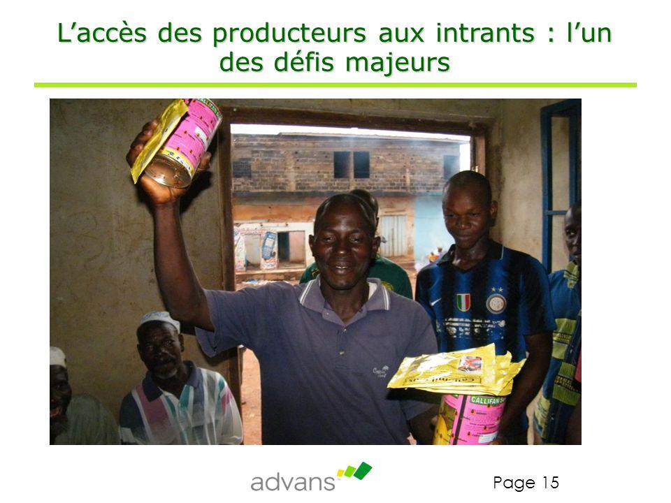 L'accès des producteurs aux intrants : l'un des défis majeurs