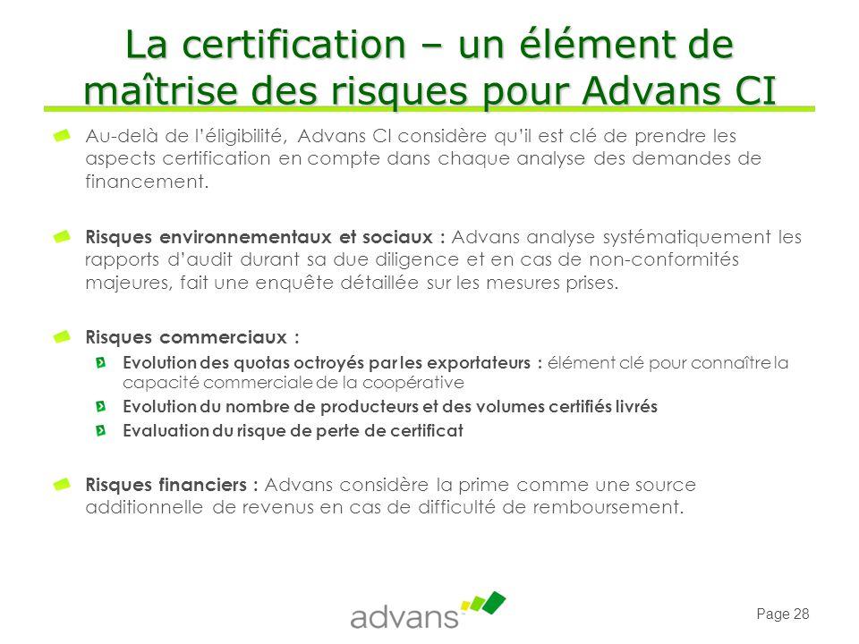 La certification – un élément de maîtrise des risques pour Advans CI
