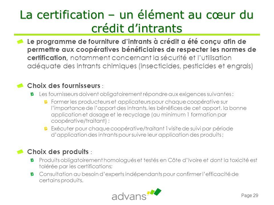 La certification – un élément au cœur du crédit d'intrants