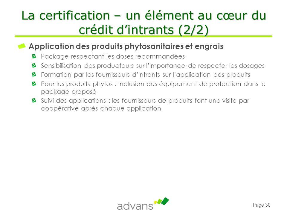 La certification – un élément au cœur du crédit d'intrants (2/2)