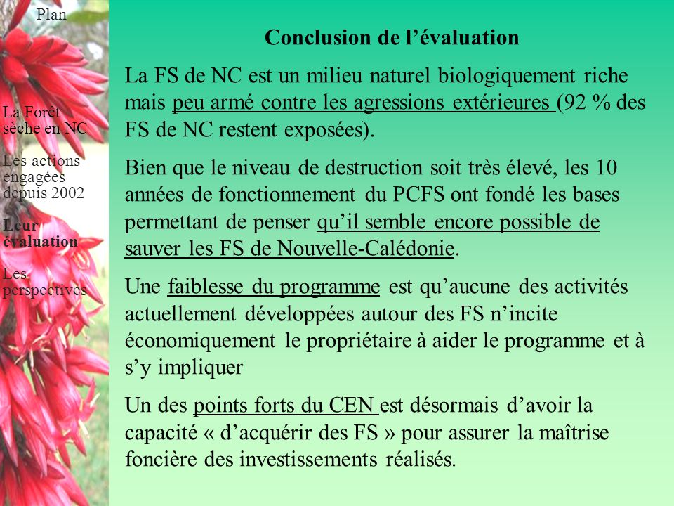 Conclusion de l'évaluation