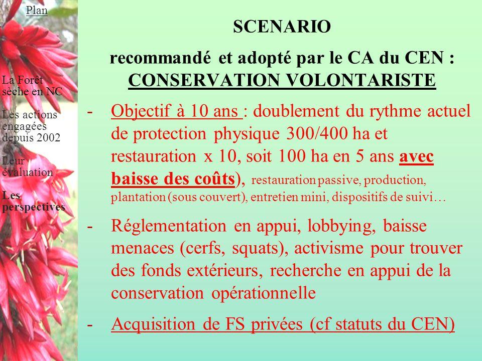 recommandé et adopté par le CA du CEN : CONSERVATION VOLONTARISTE