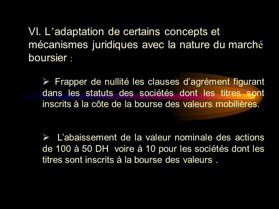 VI. L'adaptation de certains concepts et mécanismes juridiques avec la nature du marché boursier :