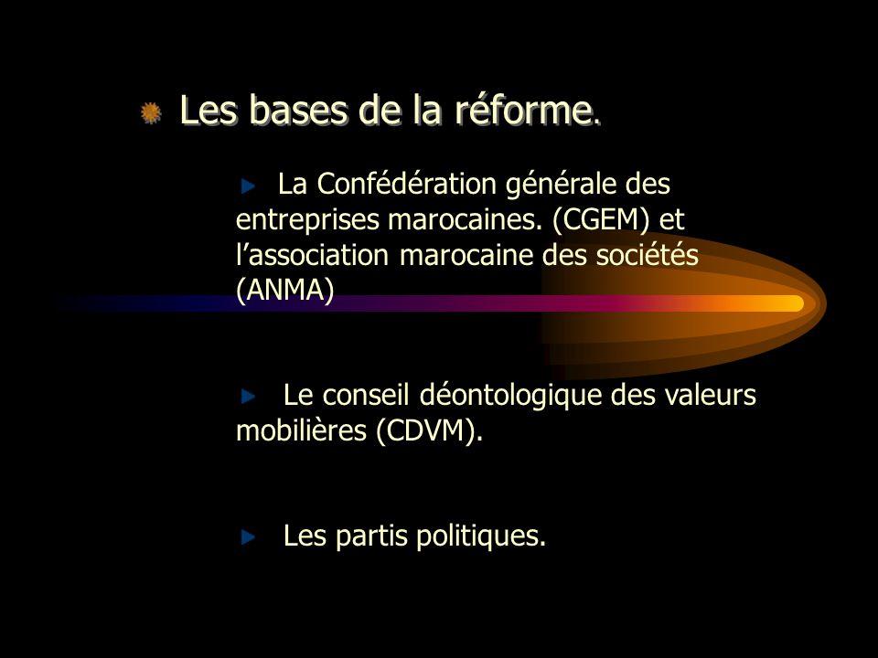 Les bases de la réforme. La Confédération générale des entreprises marocaines. (CGEM) et l'association marocaine des sociétés (ANMA)