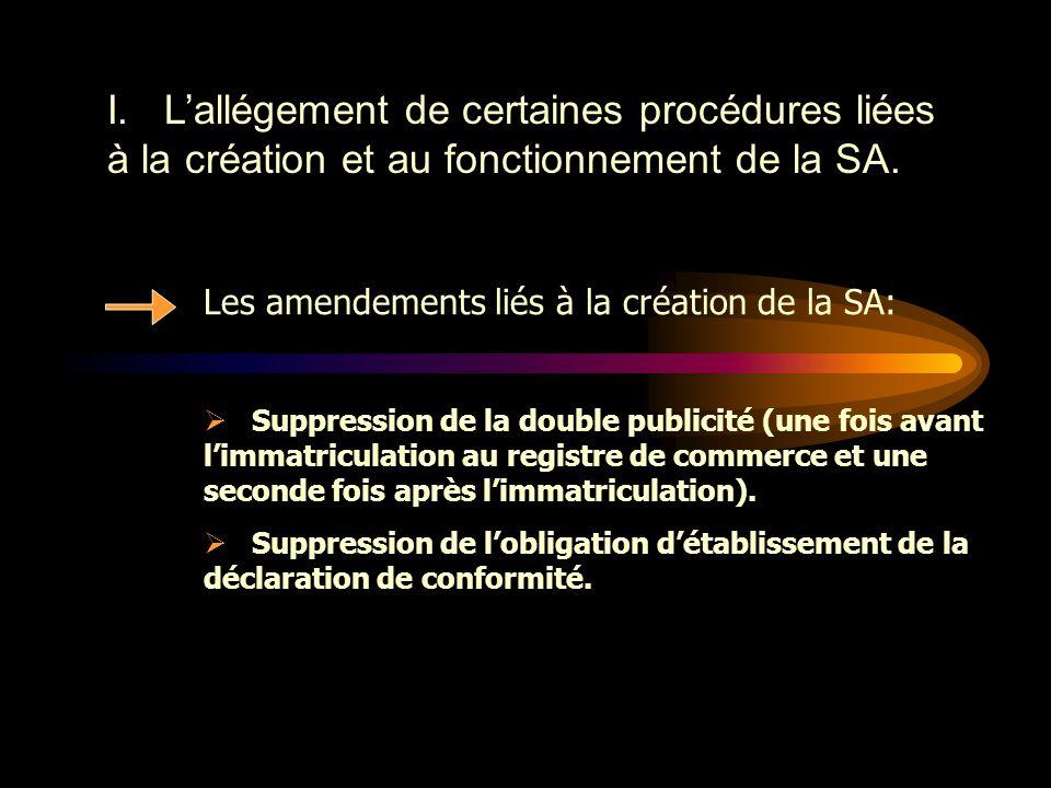 I. L'allégement de certaines procédures liées à la création et au fonctionnement de la SA.