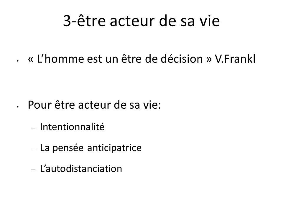 3-être acteur de sa vie « L'homme est un être de décision » V.Frankl
