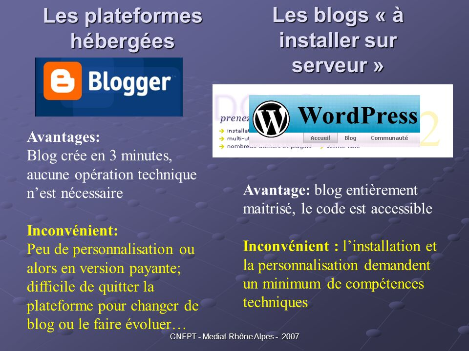 Les plateformes hébergées Les blogs « à installer sur serveur »