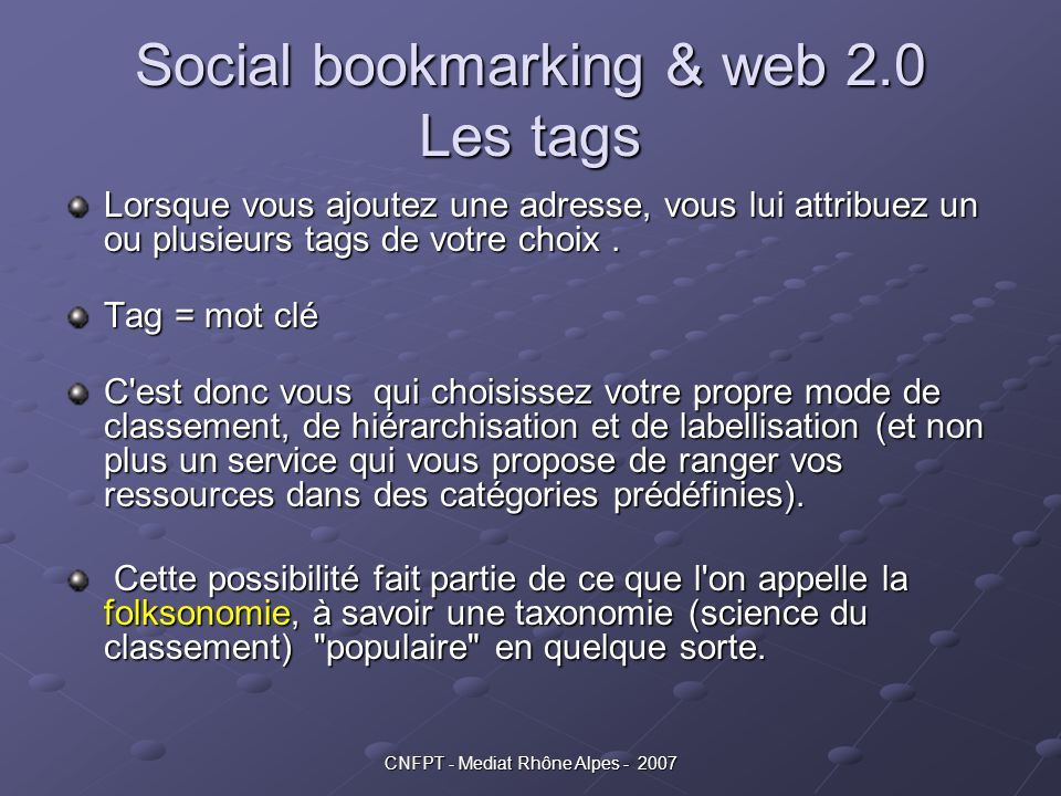 Social bookmarking & web 2.0 Les tags