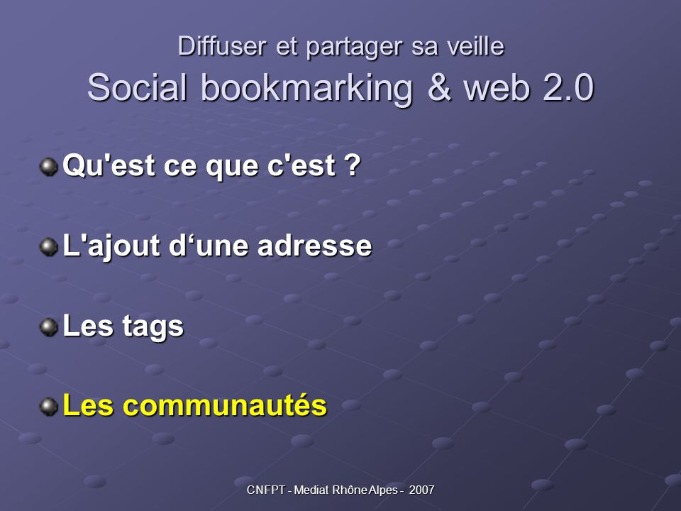 Diffuser et partager sa veille Social bookmarking & web 2.0
