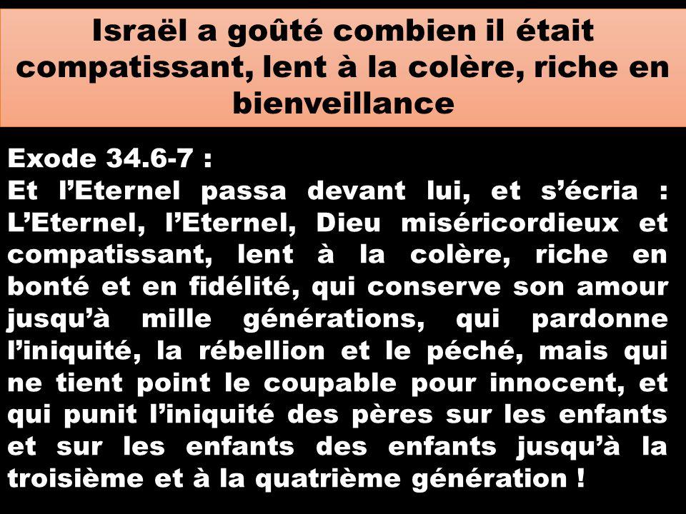 Israël a goûté combien il était compatissant, lent à la colère, riche en bienveillance