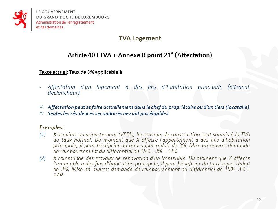 TVA Logement Article 40 LTVA + Annexe B point 21° (Affectation)