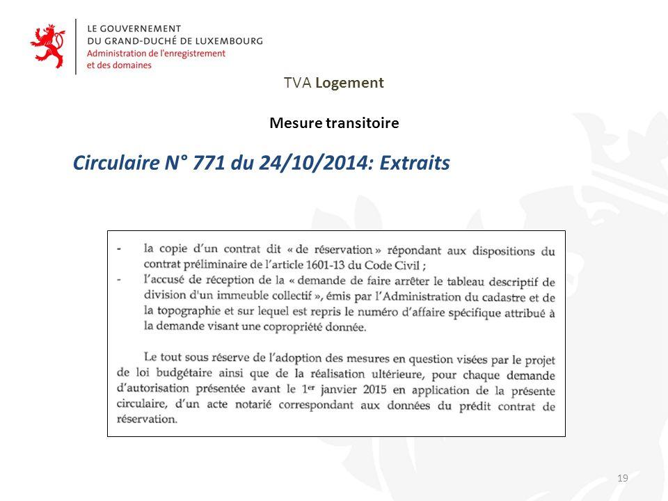 TVA Logement Mesure transitoire