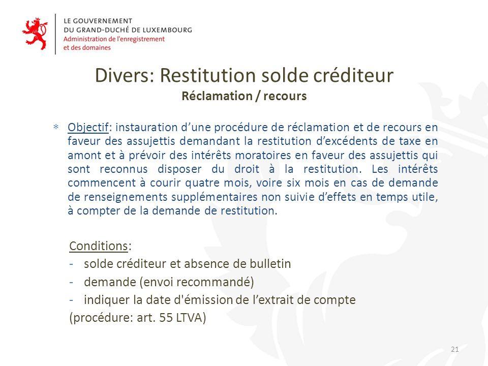Divers: Restitution solde créditeur Réclamation / recours