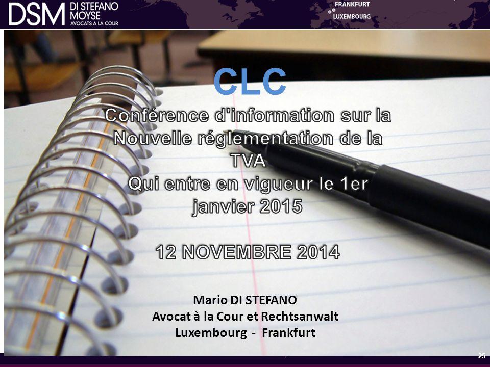 Conférence d information sur la Nouvelle réglementation de la TVA