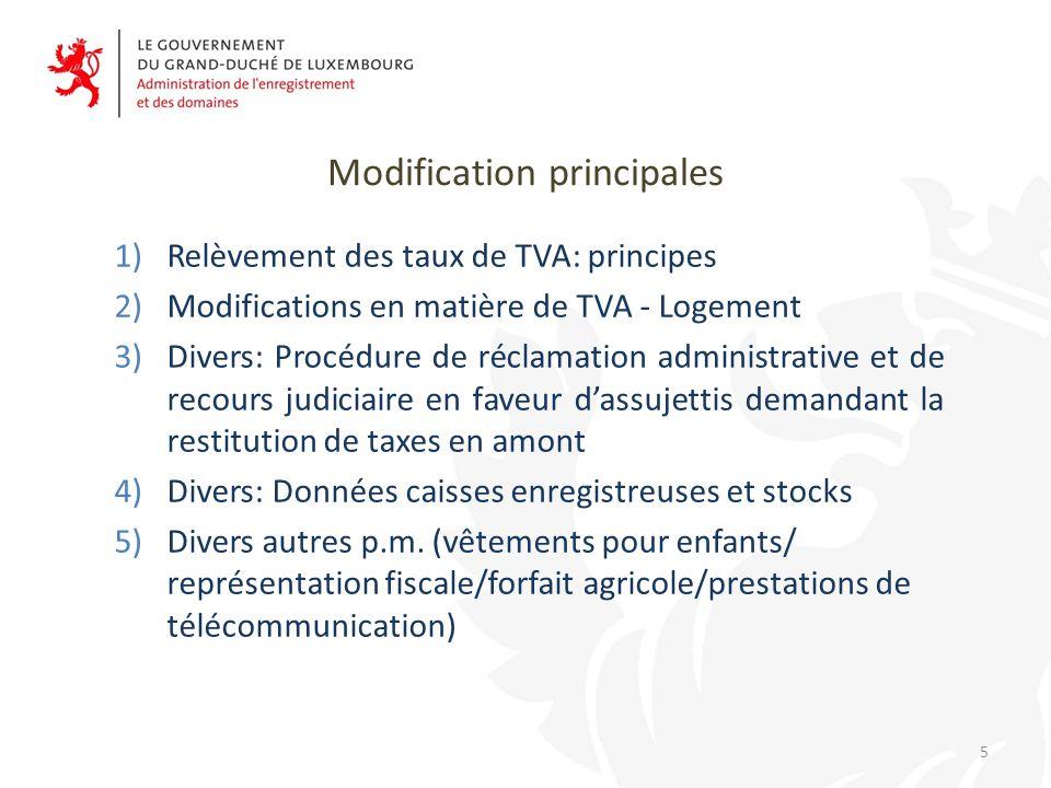 Modification principales