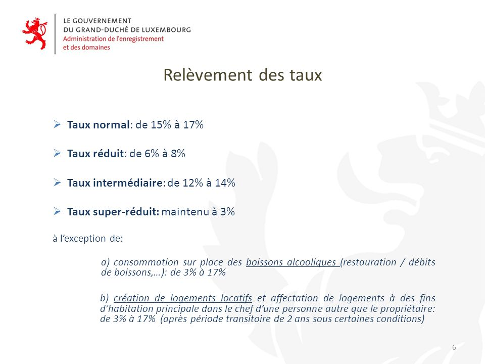 Relèvement des taux Taux normal: de 15% à 17% Taux réduit: de 6% à 8%