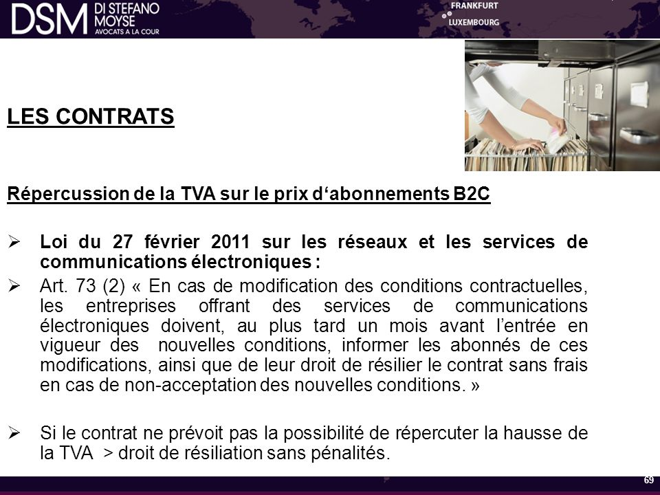 LES CONTRATS Répercussion de la TVA sur le prix d'abonnements B2C