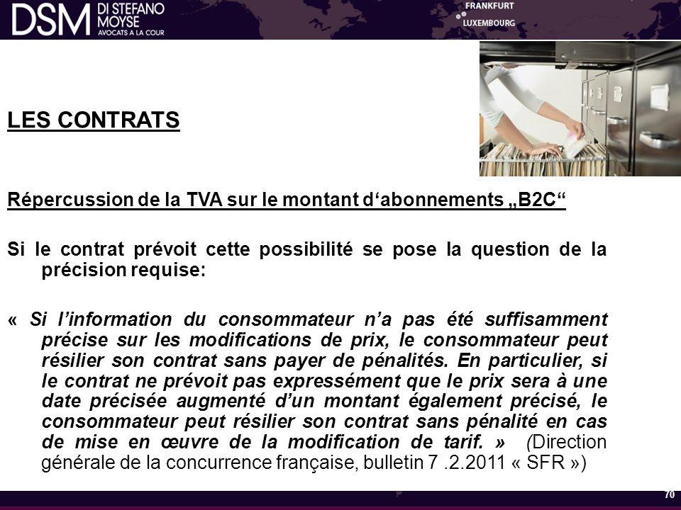 """LES CONTRATS Répercussion de la TVA sur le montant d'abonnements """"B2C"""