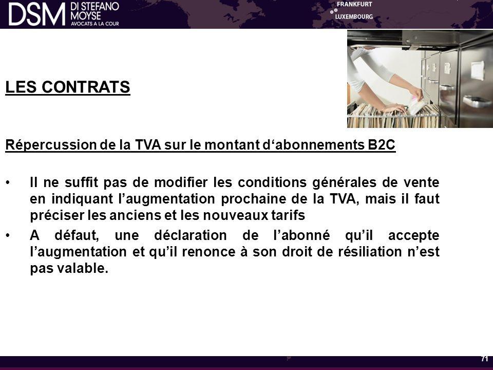 LES CONTRATS Répercussion de la TVA sur le montant d'abonnements B2C