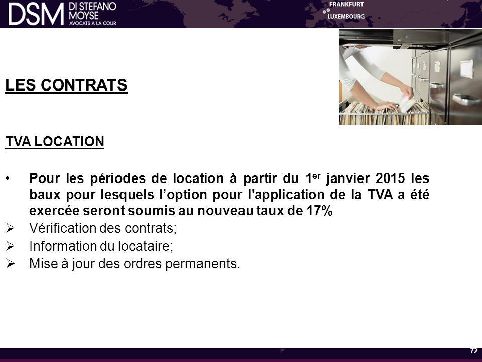 LES CONTRATS TVA LOCATION