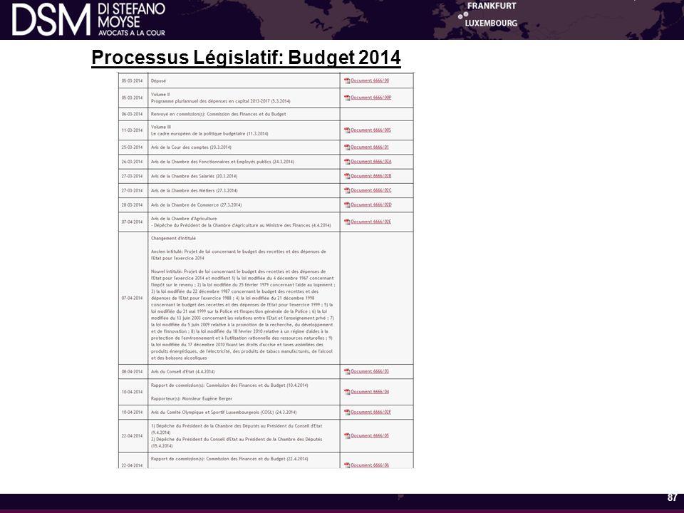 Processus Législatif: Budget 2014