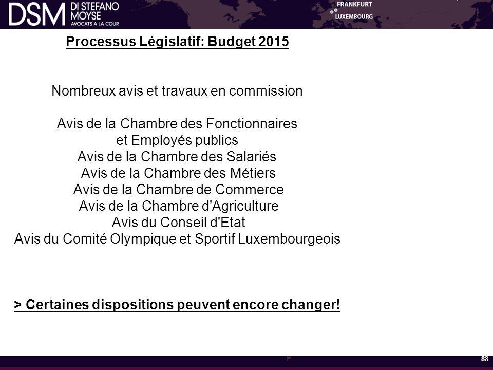 Processus Législatif: Budget 2015