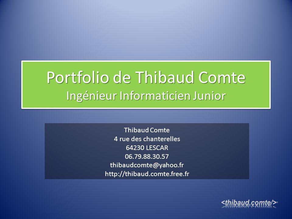 Portfolio de Thibaud Comte Ingénieur Informaticien Junior