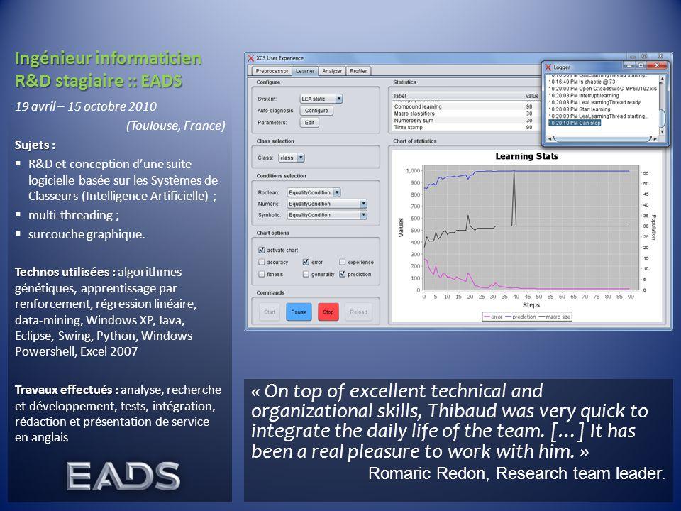 Ingénieur informaticien R&D stagiaire :: EADS