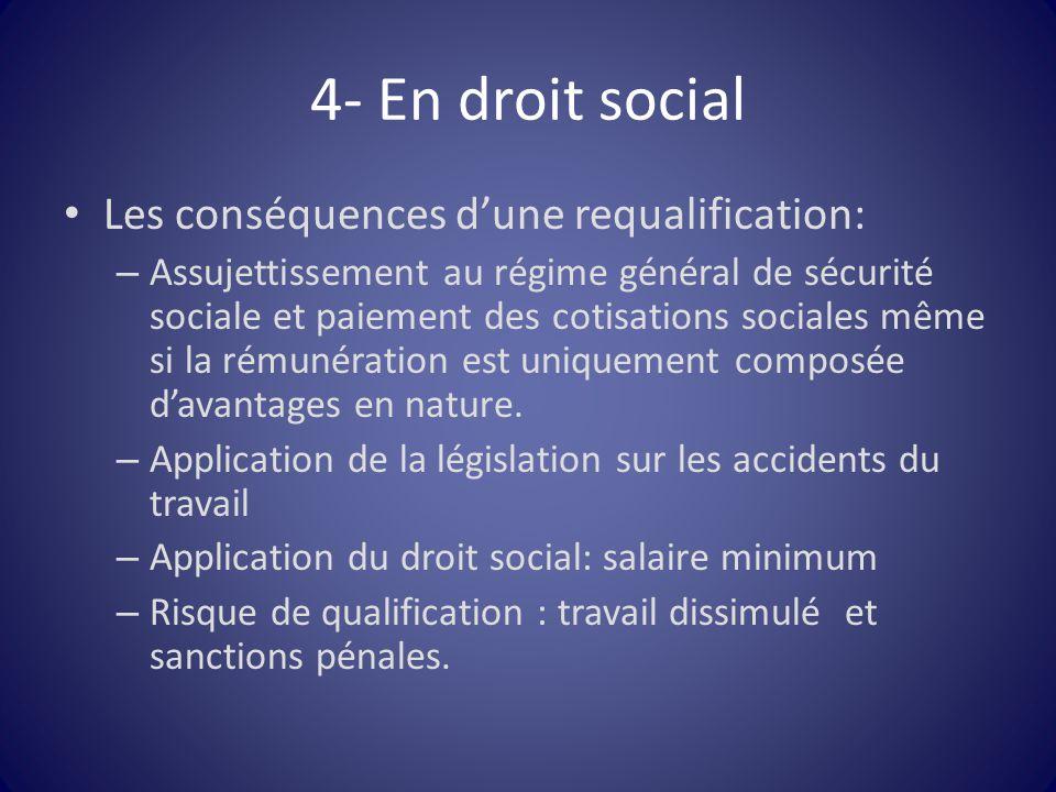 4- En droit social Les conséquences d'une requalification: