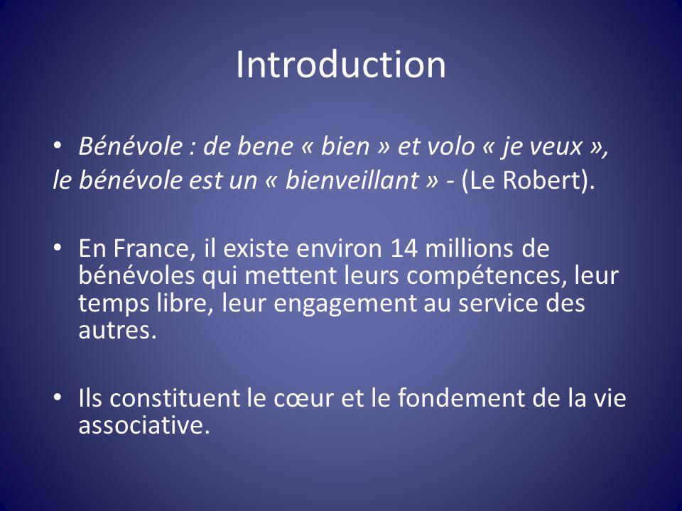 Introduction Bénévole : de bene « bien » et volo « je veux »,