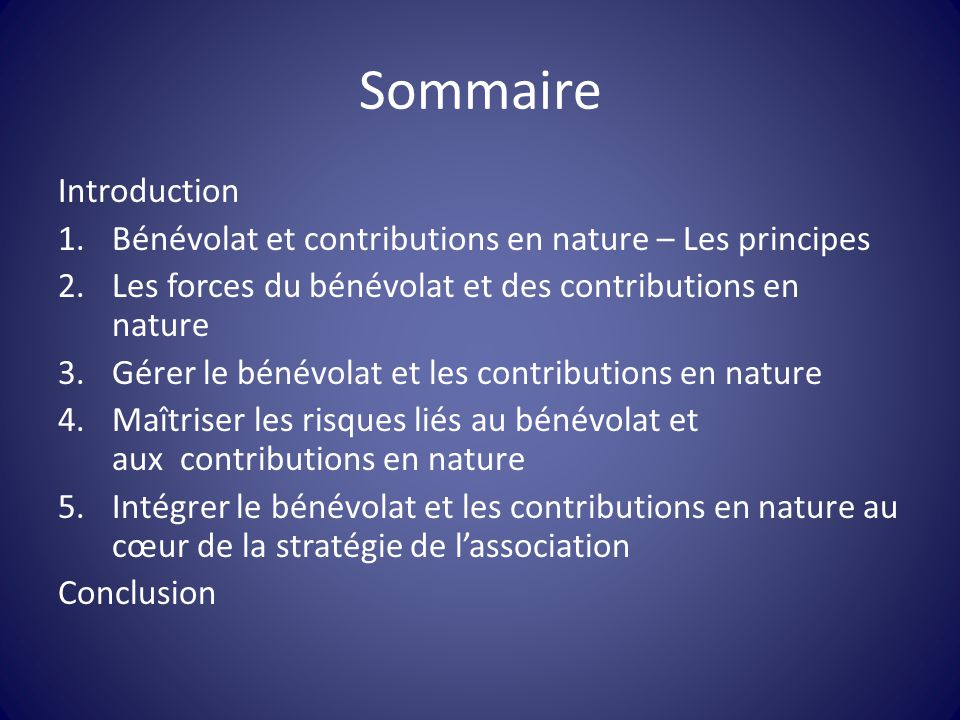 Sommaire Introduction