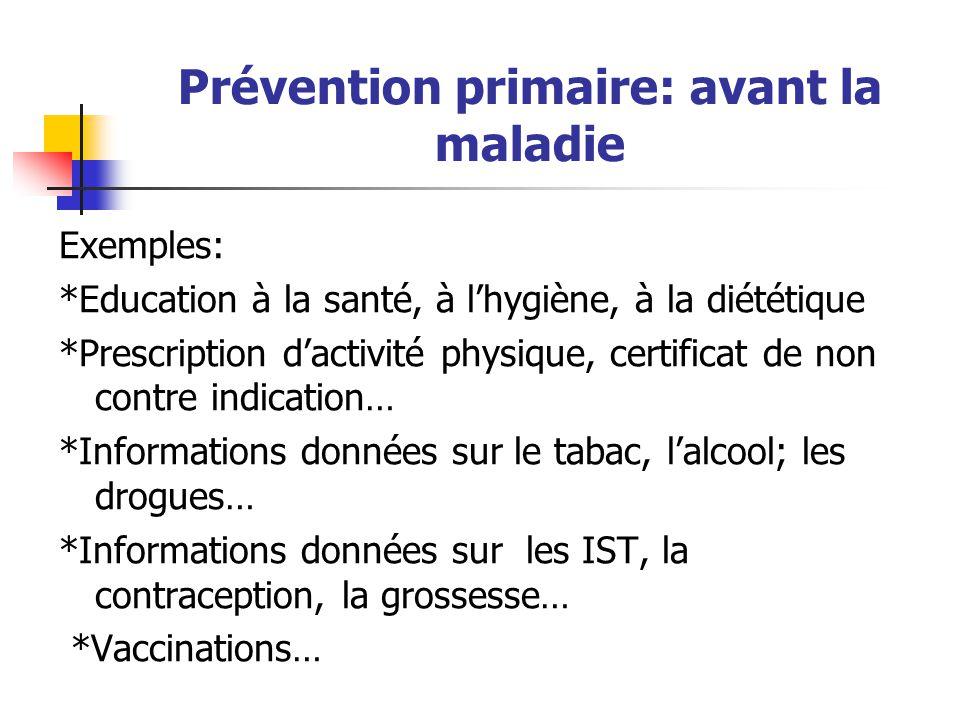 Prévention primaire: avant la maladie