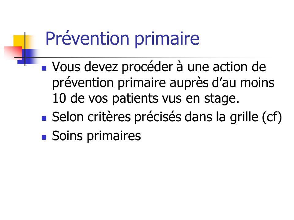 Prévention primaire Vous devez procéder à une action de prévention primaire auprès d'au moins 10 de vos patients vus en stage.