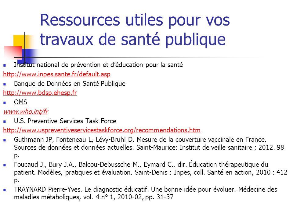 Ressources utiles pour vos travaux de santé publique