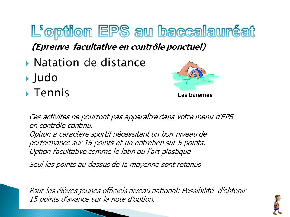L'option EPS au baccalauréat