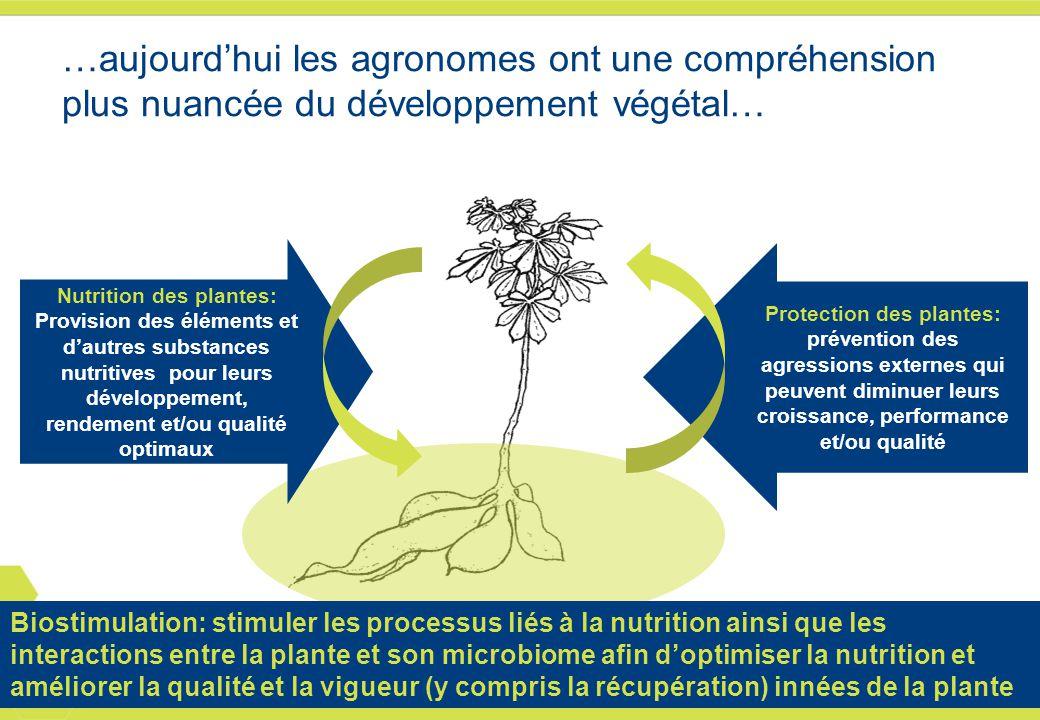 …aujourd'hui les agronomes ont une compréhension plus nuancée du développement végétal…