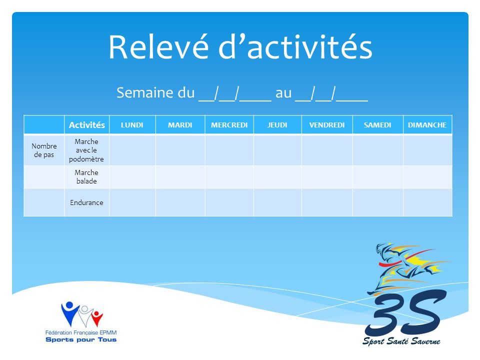 Relevé d'activités Semaine du __/__/____ au __/__/____ Activités LUNDI