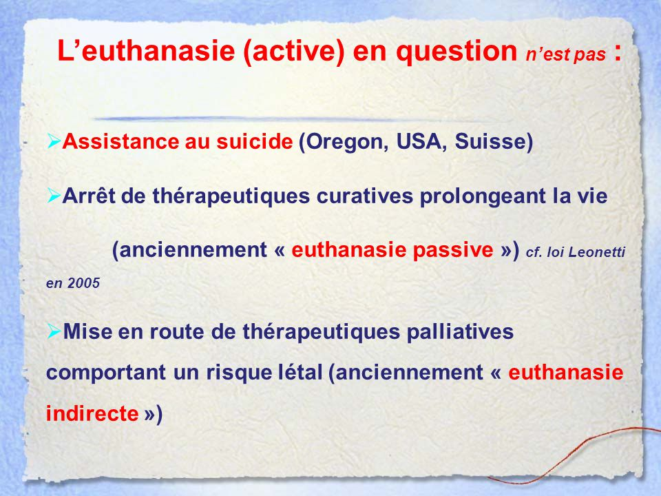 L'euthanasie (active) en question n'est pas :