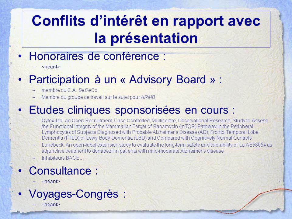 Conflits d'intérêt en rapport avec la présentation