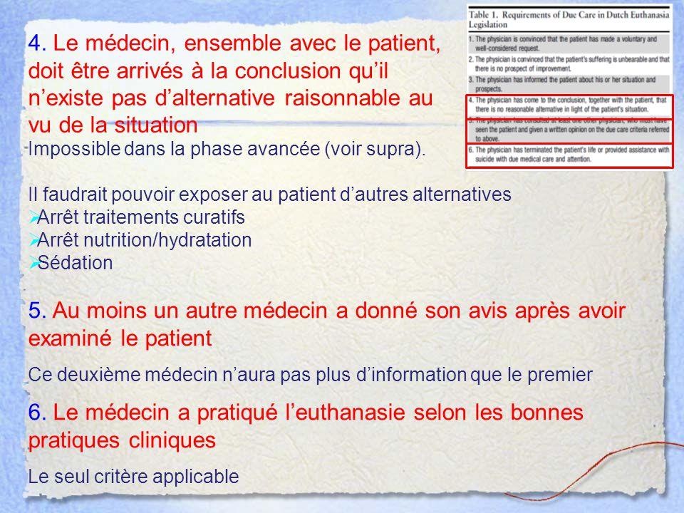 4. Le médecin, ensemble avec le patient, doit être arrivés à la conclusion qu'il n'existe pas d'alternative raisonnable au vu de la situation