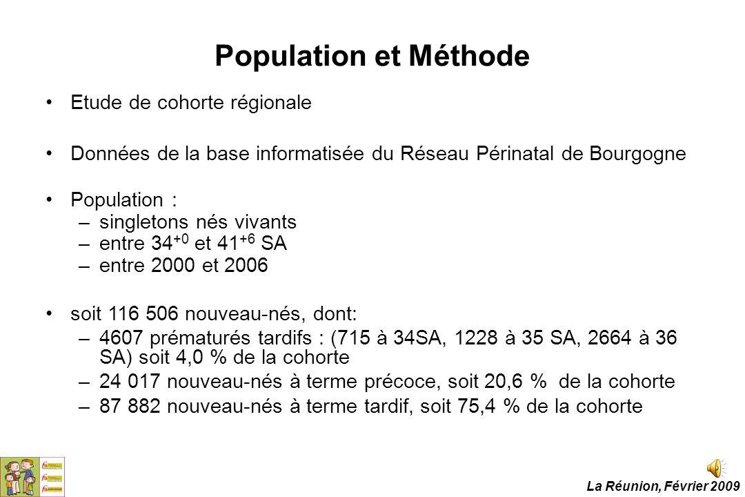 Population et Méthode Etude de cohorte régionale