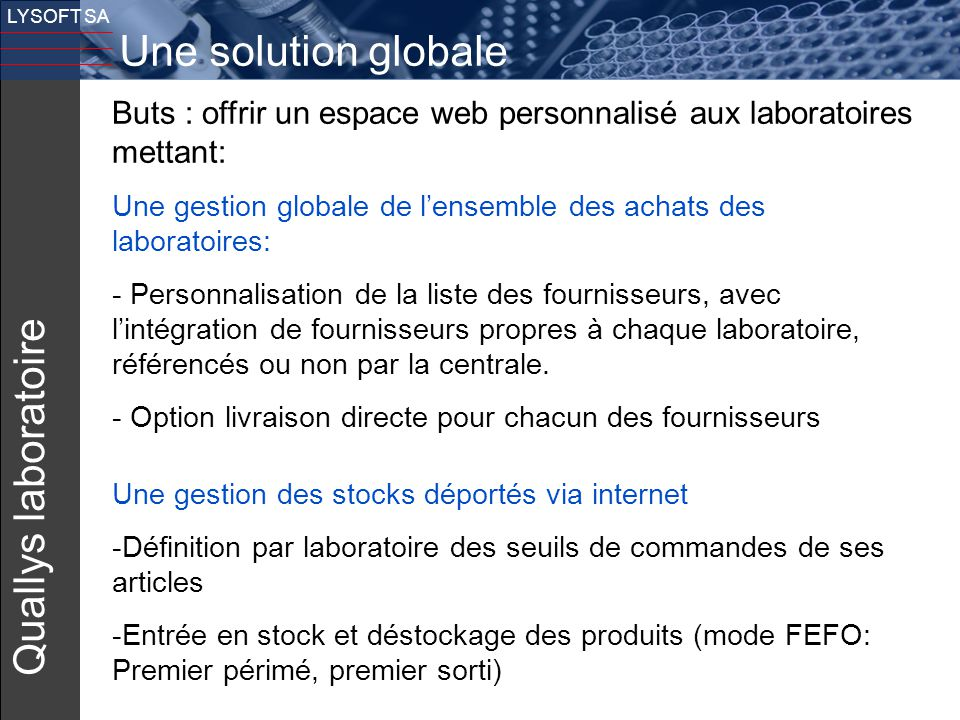Une solution globale Quallys laboratoire