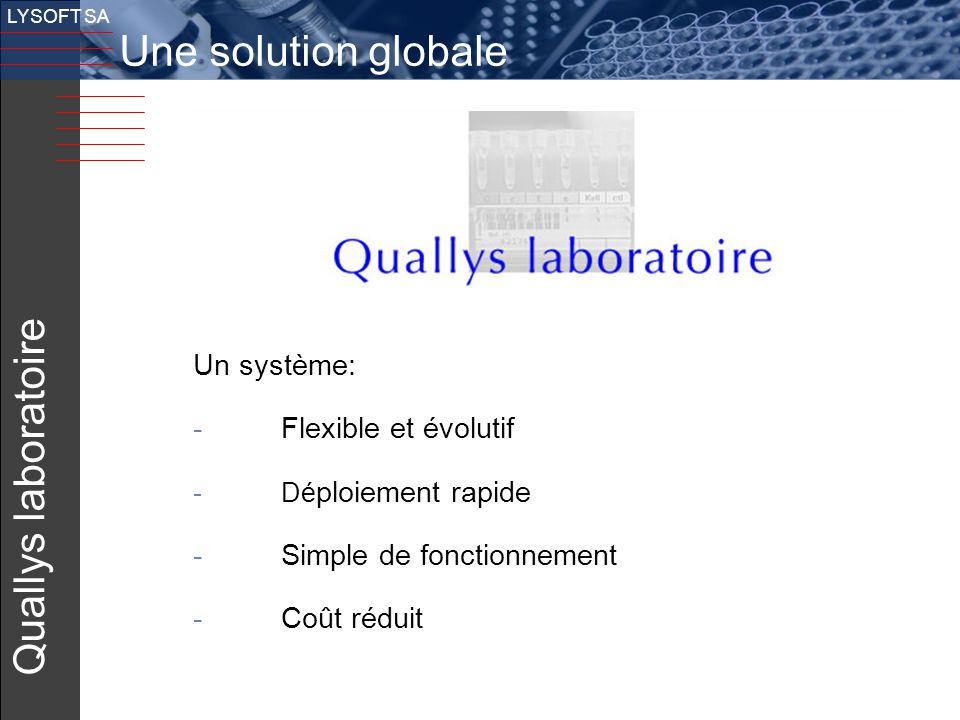 Une solution globale Quallys laboratoire v Un système:
