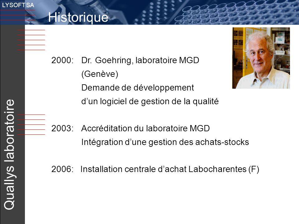 Historique Quallys laboratoire 2000: Dr. Goehring, laboratoire MGD