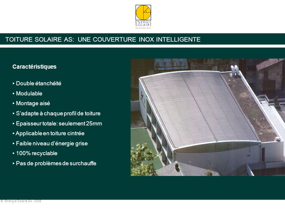 TOITURE SOLAIRE AS: UNE COUVERTURE INOX INTELLIGENTE