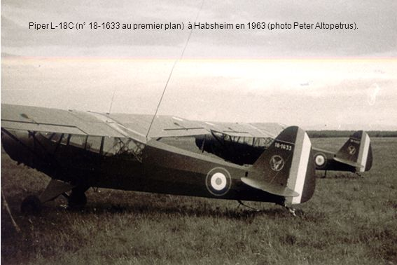 Piper L-18C (n° 18-1633 au premier plan) à Habsheim en 1963 (photo Peter Altopetrus).