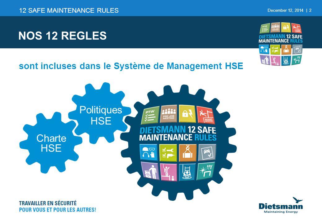 NOS 12 REGLES Politiques HSE Charte HSE