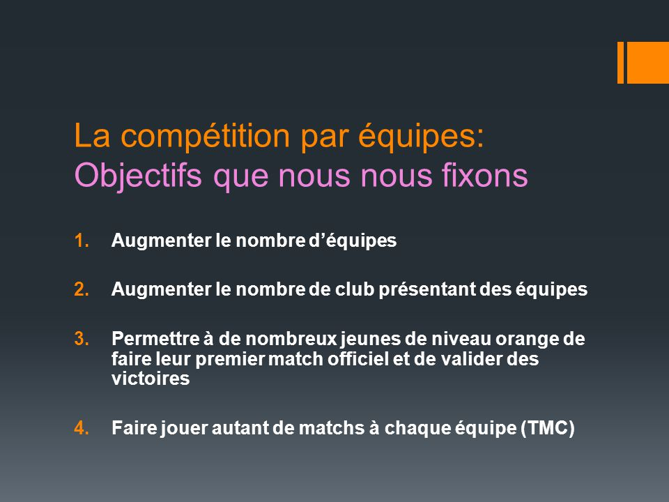 La compétition par équipes: Objectifs que nous nous fixons