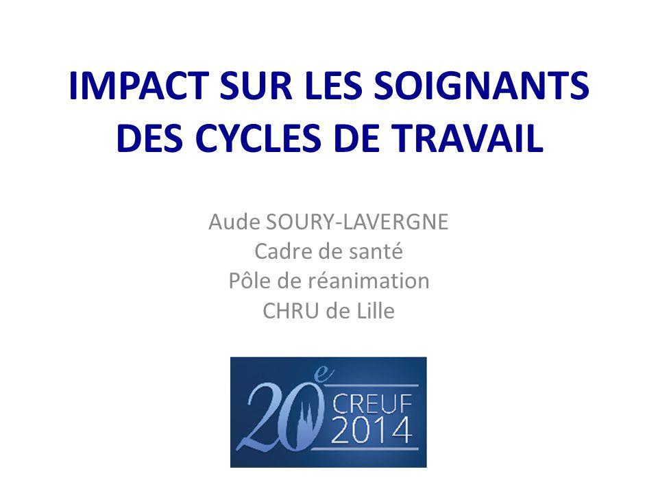 IMPACT SUR LES SOIGNANTS DES CYCLES DE TRAVAIL